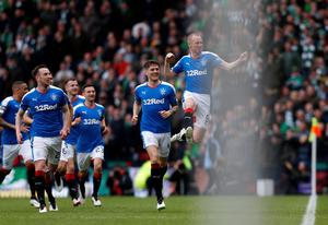 Rangers' Kenny Miller celebrates scoring his sides opening goal during the William Hill Scottish Cup semi-final match at Hampden Park, Glasgow. PRESS ASSOCIATION Photo. Picture date: Sunday April 17, 2016. See PA story SOCCER Rangers. Photo credit should read: Danny Lawson/PA Wire. EDITORIAL USE ONLY
