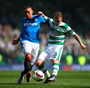 GLASGOW, SCOTLAND - APRIL 17:  James Tavernier of Rangers puts pressure on Leigh Griffiths of Celtic during the William Hill Scottish Cup semi final between Rangers and Celtic at Hampden Park on April 17, 2016 in Glasgow, Scotland.  (Photo by Ian MacNicol/Getty Images)