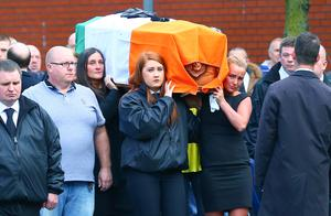 The funeral of Gerard 'Jock' Davison as it leaves his family home in the Markets area of South Belfast. Pic Kevin Scott/Presseye