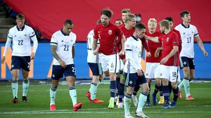 Norway celebrate their rather fortunate winner at the Ullevaal Stadium in Oslo.