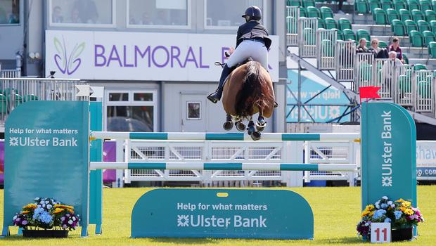 Press Eye - Belfast - Northern Ireland - 17th May 2018  Second day of the 2018 Balmoral Show, in partnership with Ulster Bank, at Balmoral Park.  Horse showing jumping as the 150th anniversary Balmoral Show continues.   Picture by Jonathan Porter/PressEye