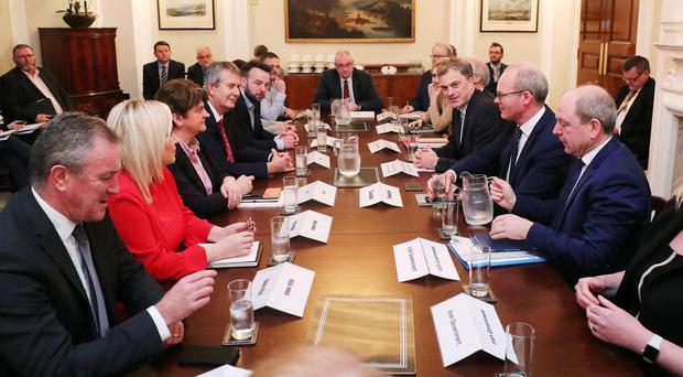 Northern Ireland Secretary Julian Smith MP and Tánaiste Simon Coveney meets with the Northern Ireland political party leaders including Arlene Foster, Michelle O'Neill, Colum Eastwood, Naomi Long and Steve Aiken at Stormont House this afternoon. Photo by Kelvin Boyes / Press Eye.