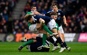 EDINBURGH, SCOTLAND - FEBRUARY 04:  Scotland player Alex Dunbar puts in a tackle on Rob Kearney during the RBS Six Nations match between Scotland and Ireland at Murrayfield Stadium on February 4, 2017 in Edinburgh, Scotland.  (Photo by Stu Forster/Getty Images)