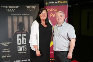 Press Eye Belfast - Northern Ireland - 31st July 2016    Leontia McKenna and Peter Lynch are pictured at the film premiere of Bobby Sands: 66 Days at the Omniplex Cinema at the Kennedy Centre in west Belfast.  The premiere was hosted with Féile An Phobail and West Belfast Film Festival.  Photo by Kelvin Boyes  / Press Eye