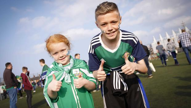 Picture - Kevin Scott / Presseye  Belfast , UK - May 27, Pictured is Northern Irelands Amy and Callum Lister from Belfast in action during the last home game before heading to the Euros on May 27 2016 in Belfast , Northern Ireland ( Photo by Kevin Scott / Presseye)