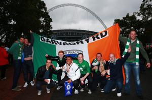 LONDON, ENGLAND - MAY 29:  Republic of Ireland fans enjoy the pre-match atmosphere prior to the International Friendly match between England and the Republic of Ireland at Wembley Stadium on May 29, 2013 in London, England.  (Photo by Scott Heavey/Getty Images)