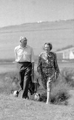 File photo dated 12/08/1987 of Prime Minister Margaret Thatcher and her husband Denis walking on the Trevose golf course, Cornwall, on the first day of their summer holidays. Baroness Thatcher died this morning following a stroke, her spokesman Lord Bell said. PRESS ASSOCIATION Photo. Issue date: Monday April 8, 2013. See PA story DEATH Thatcher. Photo credit should read: PA/PA Wire