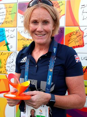 ParalympicsGB Chef de Mission Penny Briscoe poses for a photograph after writing a message on a wall during the Paralympics GB Welcome Ceremony at the Athletes Village ahead of the 2016 Rio Paralympic Games, Brazil. PRESS ASSOCIATION Photo. Picture date: Sunday September 4, 2016. Photo credit should read: Andrew Matthews/PA Wire. EDITORIAL USE ONLY