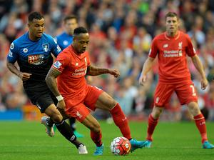 Liverpool's English defender Nathaniel Clyne (Front 2nd L) in action against Bournemouth's Norwegian striker Joshua King during the English Premier League football match between Liverpool and Bournemouth at the Anfield stadium in Liverpool, north-west England on August 17, 2015.  AFP PHOTO / OLI SCARFF  RESTRICTED TO EDITORIAL USE. No use with unauthorized audio, video, data, fixture lists, club/league logos or 'live' services. Online in-match use limited to 75 images, no video emulation. No use in betting, games or single club/league/player publications.OLI SCARFF/AFP/Getty Images