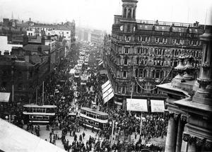 Crowds in Donegall Place for Student's Day, from the top of the City Hall. Belfast. 3/5/1935