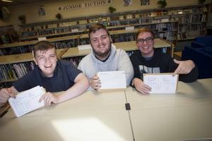 St. Joseph's Boys School, Derry students Nathan Doherty, Conal Kelly and Jack Gillespie pictured after receiving their A Level results at the school yesterday morning.