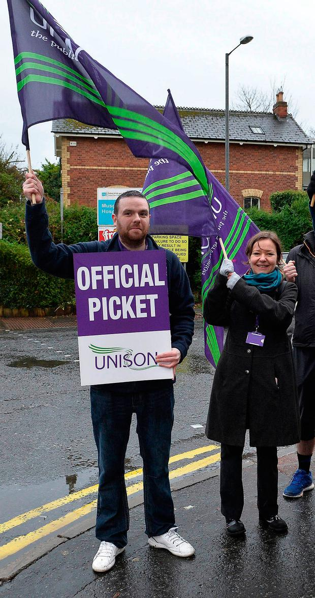 Picket line at Musgrave Park