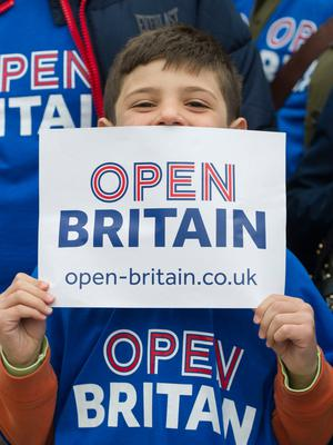 People from Open Britain, which campaigns for a soft Brexit  in Parliament Square, London after the Prime Minister Theresa May signed a letter to trigger Article 50  that starts the formal exit process by the UK from the European Union. PRESS ASSOCIATION Photo. Picture date: Wednesday March 29, 2017. Photo credit should read: David Mirzoeff/PA Wire