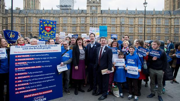 (left to right) MPs: Nicky Morgan, Nick Clegg and Chris Leslie join members of Open Britain, which campaigns for a soft Brexit in Parliament Square, London after the Prime Minister Theresa May signed a letter to trigger Article 50  that starts the formal exit process by the UK from the European Union. PRESS ASSOCIATION Photo. Picture date: Wednesday March 29, 2017. Photo credit should read: David Mirzoeff/PA Wire