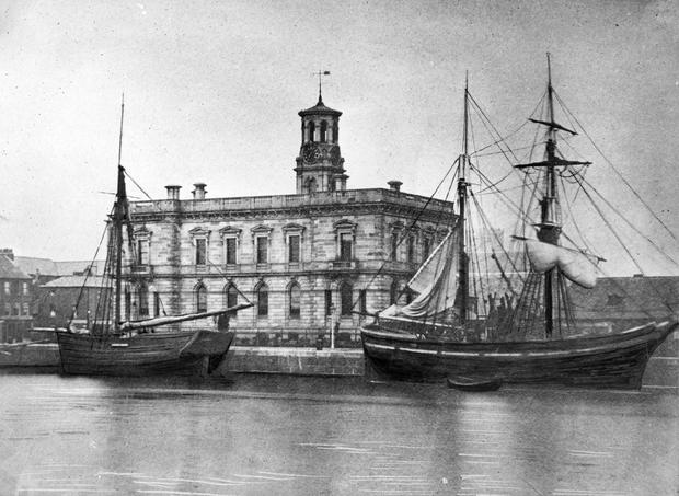 Belfast Harbour, the old Harbour office photographed from the Clarendon Dock around 1890. BELFAST TELEGRAPH ARCHIVE