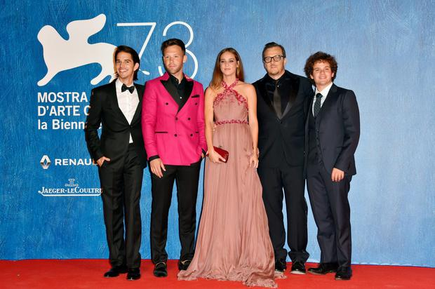 VENICE, ITALY - SEPTEMBER 01:  (L-R) Joseph Haro, Taylor Frey, Matilda Lutz, Gabriele Muccino and Brando Pacitto attend the premiere of 'Summertime' during the 73rd Venice Film Festival at Sala Giardino on September 1, 2016 in Venice, Italy.  (Photo by Pascal Le Segretain/Getty Images)