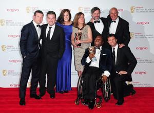 Left to right. Presenter Dermot O'Leary, Alex Brooker, Rachel Lathan, Deborah Poulton, Ade Adepitan, Gary Franses and Giles Long with the Sport and Live Event Award for The London 2012 Paralympic Games at the 2013 Arqiva British Academy Television Awards at the Royal Festival Hall, London. PRESS ASSOCIATION Photo. Picture date: Sunday May 12, 2013. See PA story SHOWBIZ Bafta. Photo credit should read: Ian West/PA Wire