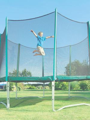 The boy was injured on the trampoline when his leg went into a gap between the base and the frame. File image
