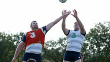 2015 Rugby World Cup, Ireland Rugby Squad Training, Newport High School, Wales 9/10/2015 Donnacha Ryan and Paul O'Connell Mandatory Credit ?INPHO/Dan Sheridan