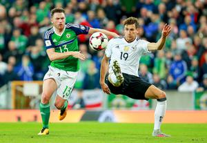 Northern Ireland's Corry Evans and Germany's Leon Goretzka in action during the World Cup Qualifier at Windsor Park in Belfast on October 4th 2017 (Photo by Kevin Scott / Belfast Telegraph)