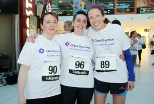 Press Eye - Belfast -  Northern Ireland - 24th June 2015 -  Claire Walker, Julie Boyle and Joanne McArdle from Barclays at the first ever Grant Thornton Runway Run at Belfast City Airport this evening. Picture by Kelvin Boyes / Press Eye.