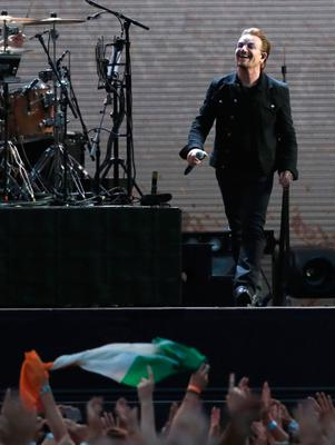 Bono of U2 performing on stage at Croke Park in Dublin. PRESS ASSOCIATION Photo. Picture date: Saturday July 22, 2017. Photo credit should read: Brian Lawless/PA Wire