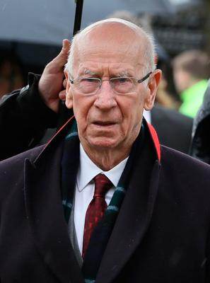 Sir Bobby Charlton arrives for the funeral of former Manchester United and Northern Ireland goalkeeper Harry Gregg, at St Patrick's Parsh Church, Coleraine. PA Photo. Picture date: Friday February 21, 2020. See PA story FUNERAL Gregg. Photo credit should read: Brian Lawless/PA Wire