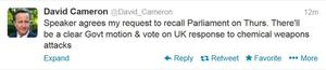 A Tweet made by Prime Minister David Cameron confirming that MPs will be recalled to Parliament for a debate and vote on Syria on Thursday