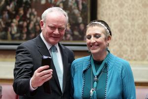 Ovarian cancer patient and campaigner Una Crudden with Deputy First Minister Martin McGuinness in the Senate Chamber.