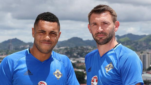 Josh Magennis and Gareth McAuley during Northern Ireland's trip to central America last year.