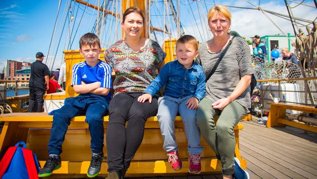 Jacob , Marlene , Isac and Denise Stockman  The maritime festival begins in Belfast on June 16th 2017 (Photo by Kevin Scott / Belfast Telegraph)