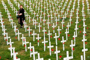 A visitor walks through white memorial crosses as part of a Field of Remembrance at Wellington Botanic Gardens on April 20, 2015 in Wellington, New Zealand. On April 25th, Australia and New Zealand will commemorate 100 years since more than 20,000 Australian and New Zealand servicemen landed at the Gallipoli Peninsula during the first World War on April 25, 1915.  (Photo by Hagen Hopkins/Getty Images)