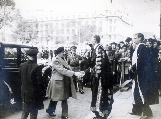 Field Marshal Bernard Montgomery, visit to Northern Ireland 1945. Arriving in Belfast, being recieved by Lord Londonderry at Assembly Hall for degree ceremony at Queens. 14.9.1945