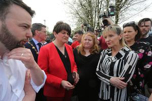 Press Eye - Belfast - Northern Ireland - 19th April 2019 -  Photo by Lorcan Doherty  / Press Eye.  The community vigil held on Fanad Drive, Creggan, following the murder of 29 years-old Lyra McKee.  SDLP leader Colum Eastwood, DUP party leader Arlene Foster, Alliance Party leader Naomi Long and Sinn Fein MEP Martinas Anderson.