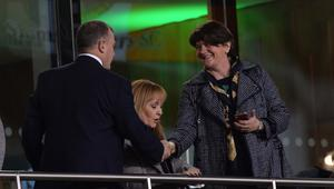 PACEMAKER BELFAST  15/11/18 DUP Leader Arlene Foster  during this evenings game between N Ireland and the Rep of Ireland  at the Aviva Stadium in Dublin. Photo Colm Lenaghan/Pacemaker Press