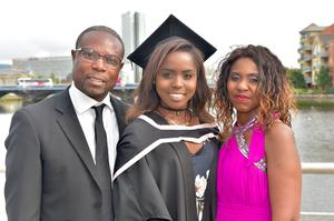Pictured at Ulster University Summer Graduation 2017 at the Waterfront Hall are Benjamin and Bridgette Harrison with daughter Caroline who as Graduated in Computing Technologies. Photo by simongraham.photography.