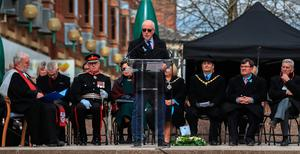 Colin Parry, the father of Tim Parry, 12, who along with Johnathan Ball, three, was killed after the IRA detonated two IRA bombs on Bridge Street, inn Warrington, speaks during 25th anniversary service of the Warrington bombing attack. PRESS ASSOCIATION Photo. Picture date: Tuesday March 20, 2018. See PA story MEMORIAL Warrington. Photo credit should read: Peter Byrne/PA Wire