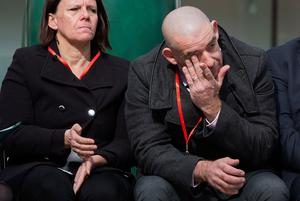 Paul Comerford the brother of Johnathan Ball, three, who along with Tim Parry, 12, was killed after the IRA detonated two bombs on Bridge Street, in Warrington, wipes his eyes during the 25th anniversary service in Warrington of the bombing attack. PRESS ASSOCIATION Photo. Picture date: Tuesday March 20, 2018. See PA story MEMORIAL Warrington. Photo credit should read: Peter Byrne/PA Wire