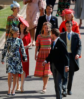 British actress Cressida Bonas (C) arrives for the wedding ceremony of Britain's Prince Harry, Duke of Sussex and US actress Meghan Markle at St George's Chapel, Windsor Castle, in Windsor, on May 19, 2018. / AFP PHOTO / POOL / Odd ANDERSENODD ANDERSEN/AFP/Getty Images