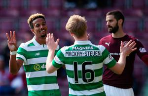 Celtic's Scott Sinclair celebrates scoring his side's fifth goal of the game from the penalty spot and completing his hat-trick during the Ladbrokes Scottish Premiership match at Tynecastle Stadium, Edinburgh. PRESS ASSOCIATION Photo. Picture date: Sunday April 2, 2017. See PA story SOCCER Hearts. Photo credit should read: Andrew Milligan/PA Wire. EDITORIAL USE ONLY