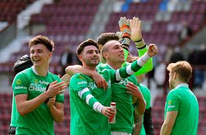 Celtic's Patrick Roberts (centre left) and Scott Brown celebrate winning the league after the Ladbrokes Scottish Premiership match at Tynecastle Stadium, Edinburgh. PRESS ASSOCIATION Photo. Picture date: Sunday April 2, 2017. See PA story SOCCER Hearts. Photo credit should read: Andrew Milligan/PA Wire. EDITORIAL USE ONLY