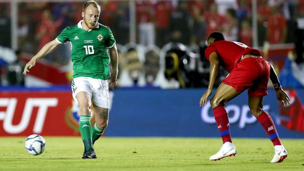Panama's Fidel Escobar with Northern Ireland's Liam Boyce during Wednesday nights International Friendly at the Estadio Rommel Fernandez, Panama City.