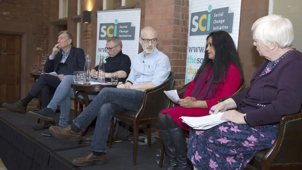 The panel discuss reporting attitudes at the SCI conference on 'The Role of The Media in Deeply Divided Societies'. Pic Kevin Cooper Photoline