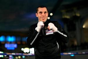 Happy at his work: Scott Quigg at last night's public work-out at the Trafford Centre in Manchester