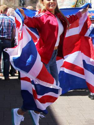 COLERAINE Draped in a Union Jack is Lauren Mc Kane from Ballymoney.PICTURE MARK JAMIESON.