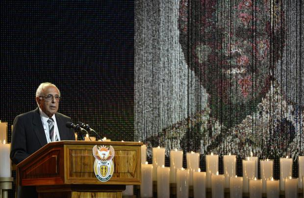Anti-apartheid activist and close friend of  Nelson Mandela, Ahmed Kathrada, speaks during the funeral service for the former South African president in Qunu, South Africa, Sunday, December 15, 2013. (AP Photo/Odd Andersen, Pool)