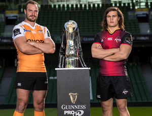New chapter: Niell Jordaan of the Cheetahs and Southern Kings' CJ Velleman have a look at the PRO14 title
