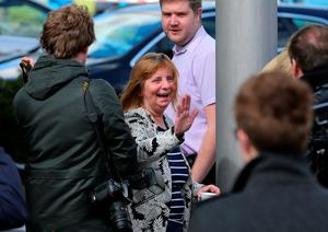 WARRINGTON, ENGLAND - APRIL 26:  Margaret Aspinall of the Hillsborough Family Support Group smiles as she departs Birchwood Park after hearing the conclusions of the Hillsborough inquest on April 26, 2016 in Warrington, England. The fresh inquests into the 1989 Hillsborough disaster, in which 96 football supporters were crushed to death, concluded on April 26, 2016 with a verdict of unlawful killing, after the initial verdicts were quashed. Relatives of Liverpool supporters who died in Britain's worst sporting disaster gathered in the purpose-built court to hear the jury's verdict in Warrington after a 25 year fight to overturn the accidental death verdicts handed down at the initial 1991 inquiry.  (Photo by Dave Thompson/Getty Images)