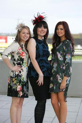 Press Eye - Belfast - Northern Ireland 2nd November 2013  Northern Ireland Festival of Racing at Down Royal Racecourse - Day 2  Aisleen McGivern, Janice Crothers and Robyn Tucker pictured at Down Royal Racecourse.  Picture by Kelvin Boyes / Press Eye.