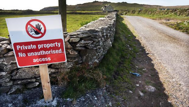 The private road leading to the fim set of an ancient Jedi Temple under construction at Ceann Sibeal in Kerry for the making of Star Wars Episode VIII.